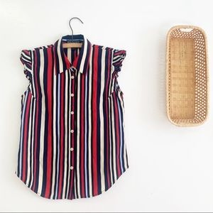 Tommy Hilfiger Striped Button Down Ruffle Sleeve